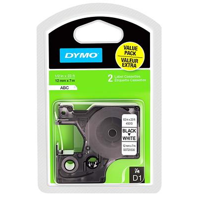 """DYMO D1 Label Cassette, Black Type/White Tape, 12 mm x 7 m, 2/PK  1/2"""" X 23FT  12MM POLY"""