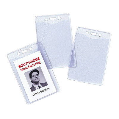 "Avery Heavy Duty Flexible Secure Top Vertical Name Badge Holders, Clear, 4"" x 3"", 25/PK VERTICAL VINYL TOP LOAD"