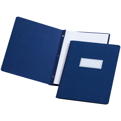 Oxford Report Covers with Embossed Border & Panel, Dark Blue PANEL & BORDER  3 FASTENERS