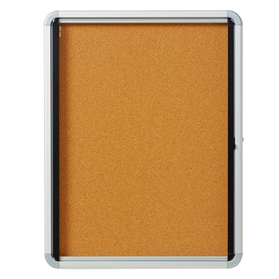 Quartet Enclosed Cork Bulletin Board 4-SHEET  INDOOR USE EURO FRAME  CORK  SWING DOOR
