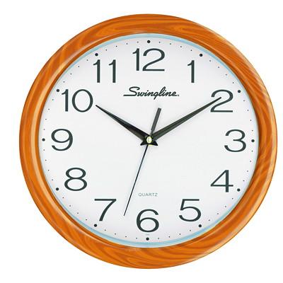 "Swingline Fashion Clock, Brown 12"" GLASS LENS AND METAL HANDS QUARTZ SILENT MOVMNT; BATT POW"