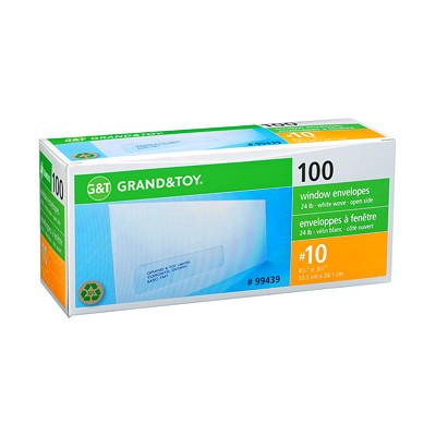 Grand & Toy White Business Envelopes with Address Window  24LB OPEN SIDE 50% RECYCLED 100/PK. 30%POST-CONSUMER WASTE