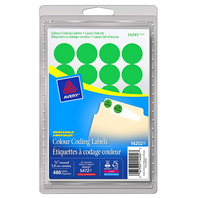 """Avery Removable Round Colour-Coding Labels, Green, 3/4"""" Diameter, 24 Labels/Sheet, 20 Sheets/PK AVERY 480/PK"""