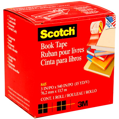 """Scotch Book Repair Permanent Tape, Transparent, 3"""" x 540"""" LONG USE ON BOOKS MAGAZINES FOR BINDING EDGES AND MORE"""