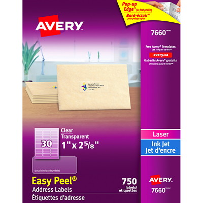 "Avery 7660 Glossy Easy Peel Address Labels, Clear, 1"" x 2 5/8"", 30 Labels/Sheet, 25 Sheets/PK EASY PEEL 2?"" X 1"" CLEAR  25 SHEETS  750 LABELS"
