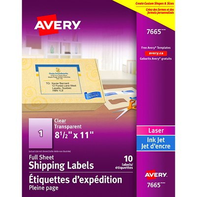 "Avery Clear Glossy Easy Peel Labels 8 "" X 11"" CLEAR  10 SHEETS  10 LABELS  L"