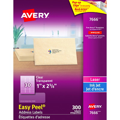"Avery Clear Glossy Easy Peel Labels EASY PEEL 2?"" X 1"" CLEAR  10 SHEETS  300 LABELS"