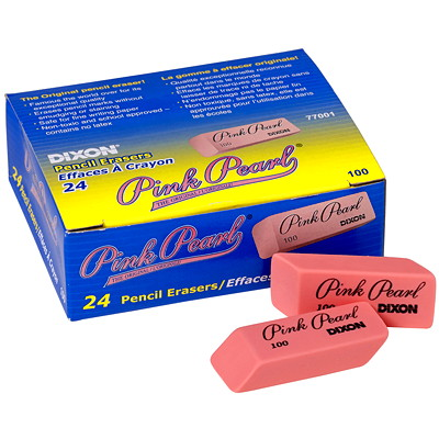 Dixon The Original Pink Pearl Pencil Eraser, 24/Box SOFT RUBBER BEVELLED EDGE