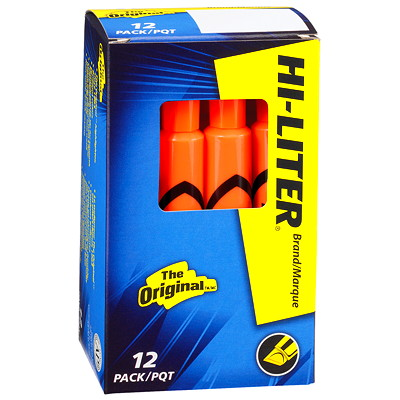 Avery Desk-Style Fluorescent Hi-Liters HIGHLIGHTERS FLUORESCENT ORANGE  12/BOX
