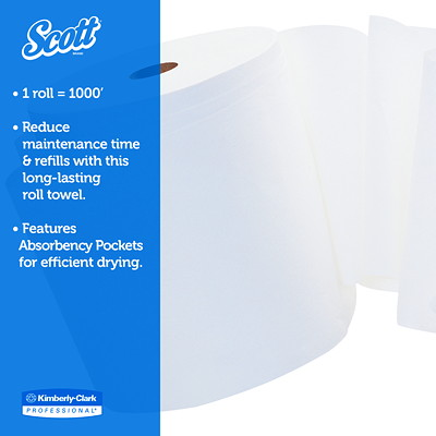 "Scott High-Capacity 800' White Hard Roll Hand Towels 12/CASE 1 1/2"" CORE"
