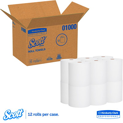 Scott Universal High Capacity Paper Towel Roll 1,000' WHITE  HARD WOUND ROLL NON PERFORATED 1000'