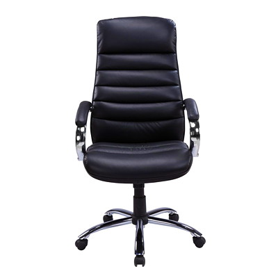TygerClaw Modern High-Back Office Chair with Integrated Headrest BLACK BONDED LEATHER SEAT HEADREST  CHROME BASE