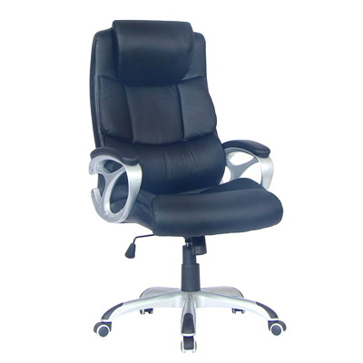 TygerClaw Executive High-Back Office Chair with Integrated Headrest  BLACK BONDED LEATHER SEAT HEADREST  ARMREST  NYLON BASE