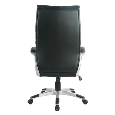 TygerClaw Modern High-Back Office Chair with Integrated Headrest  BLACK BONDED LEATHER SEAT HEADREST  NYLON BASE