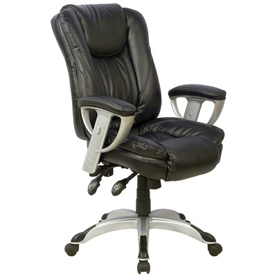 TygerClaw Executive High-Back Office Chair with Integrated Headrest  BLACK BONDED LEATHER SEAT HEADREST  NYLON BASE