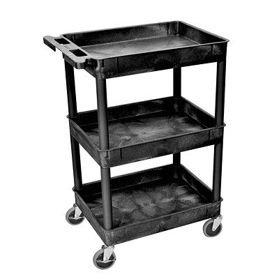 "Luxor 3 Tub Utility Cart 18""L X 24""W X 36.5""H BLACK   3 TUB SHELF"
