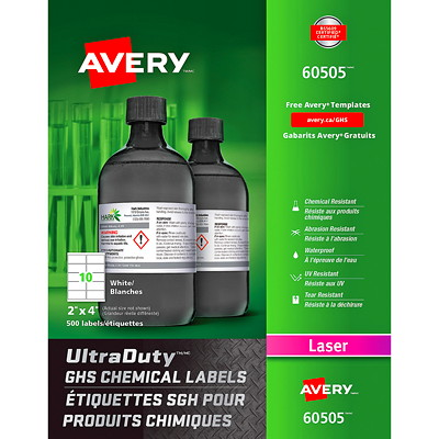 """Avery UltraDuty GHS Chemical Labels, White, 2"""" x 4"""", 10 Labels/Sheet, 50 Sheets/PK 500 LABELS  WHT  LSR  2"""" X 4"""" CHEM ABRASION  UV  WATER PROOF"""
