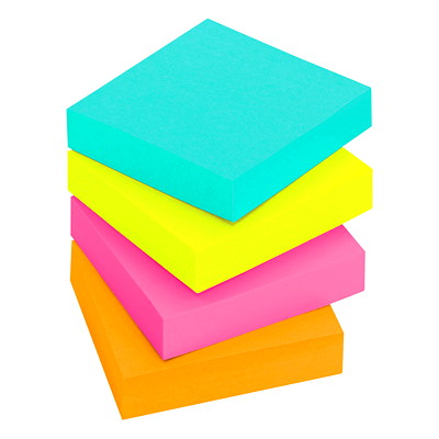 "Post-it Super Sticky Notes in Miami Colour Collection, Unlined, 2"" x 2"", 90 Sheets/Pad, 8 Pads/PK 2X2  8PK"