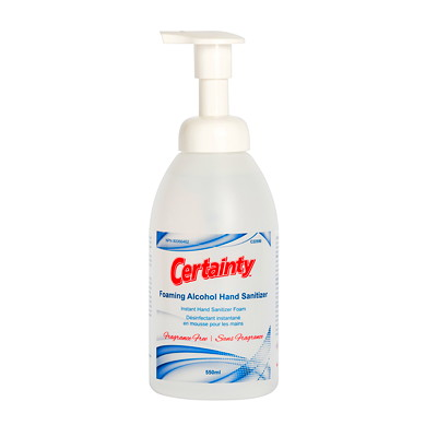 Certainty Foaming Hand Sanitizer, 70% Alcohol Content, 550 mL Pump Bottle FRAGRANCE FREE THICK AND RICH 70% ALCOHOL FOR