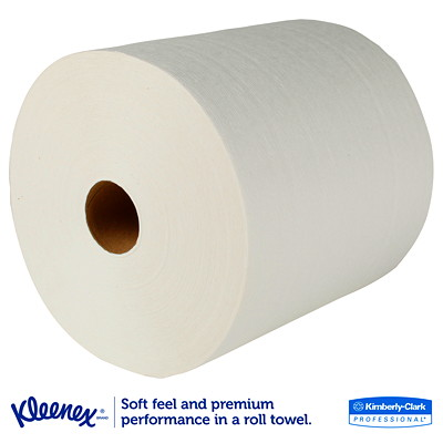 Kleenex 1-Ply Hard Roll White Hand Towels  ENEX HARD ROLL TOWELS  1-PLY 8'' X 425'  WHITE
