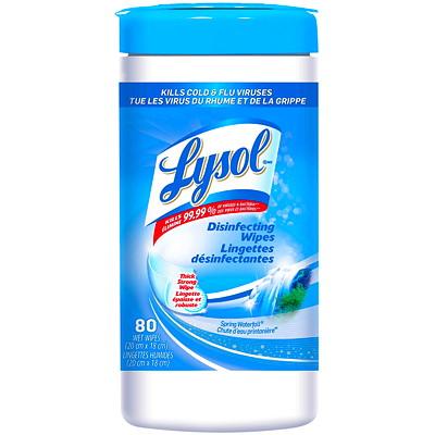 Lingettes désinfectantes Lysol, chute d'eau printanière, emb. de 80 CHUTE D'EAU PRINTEMPNIER