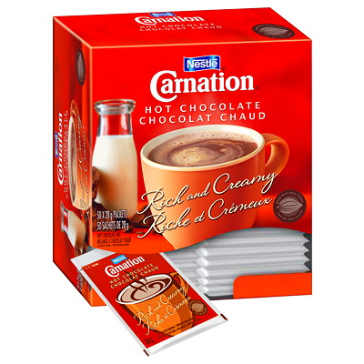 Nestlé Carnation Single-Serve Hot Chocolate, 28 g, 50/BX 50 PACKS PER BOX SINGLE SERVE PORTION CONTROLLED