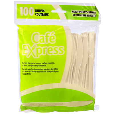 Café Express Heavyweight Plastic Utensils/Cutlery, Knives, White, 100/PK CAFÉ EXPRESS 100% RECYCLABLE FLEXIBLE