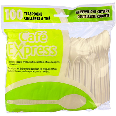 Café Express Heavyweight Plastic Utensils/Cutlery, Soup Spoons, White, 100/PK CAFE EXPRESS  100% RECYCLABLE
