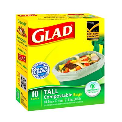 Sacs à ordures compostables biodégradables pour la cuisine à noeud facile Glad COMPOSTABLE BAGS SIZE LARGE