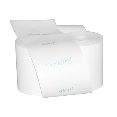 "Thank You/Merci Thermal Cash Register Rolls THANK YOU & MERCI 12/CT + 1 CLEANING CARD 3"" DIAMETER"
