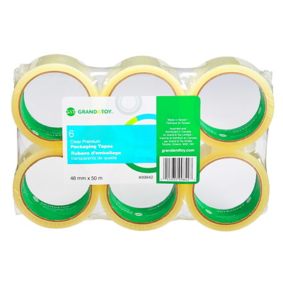 Grand & Toy Premium Packaging Tape, Clear, 48 mm x 50 m, 6/PK 50M LONG SUPERIOR HOLDING 30MC POWER IMMEDIATE ADHESION