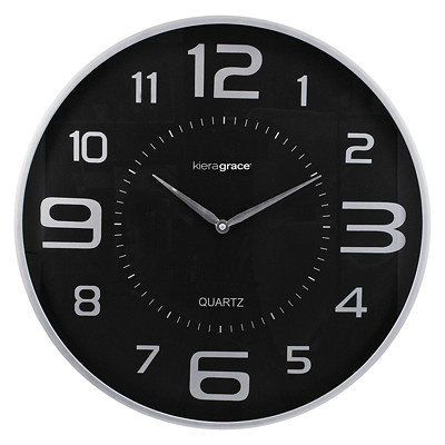 "Kiera Grace Austin Wall Clock SILVER WITH BLACK DIAL 1.75"" DEEP"
