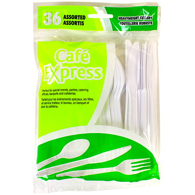 Café Express Heavyweight Plastic Utensils/Cutlery, Assorted (Knives, Forks, Teaspoons), White, 36/PK CAFE EXPRESS / HEAVY WEIGHT