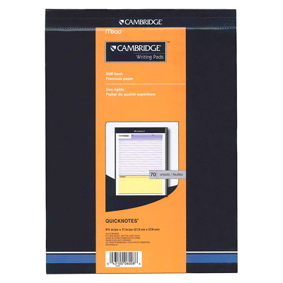 Cambridge QuickNotes Headstrip Writing Pad HEADSTRIP WRITING PAD 8-1/2 X 11  70 SHEETS