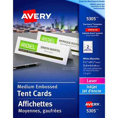"""Avery Embossed Tent Cards, White, 2 1/2"""" x 8 1/2"""" (Folded), 2 Cards/Sheet, 50 Sheets/BX EMBOSSED CARD STOCK MED. SIZE"""