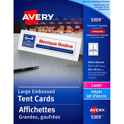 "Avery Embossed Tent Cards, White, 3 1/2"" x 11"" (Folded), 1 Card/Sheet, 50 Sheets/BX  EMBOSSED CARD STOCK LARGE SIZE 1 CARD/SHEET AVERY 50/BX"