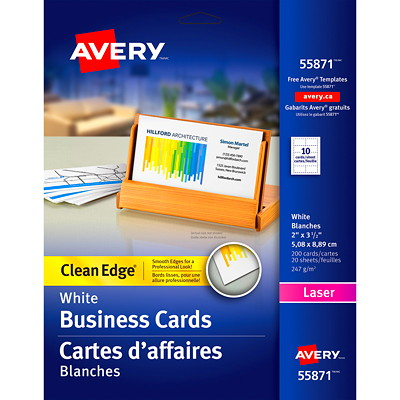 """Avery 2-Sided Printable Clean Edge Business Cards for Laser Printers, White, 2"""" x 3 1/2"""", 200/PK LASER CLEAN EDGE"""