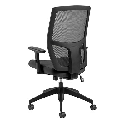 Offices To Go Format High-Back Simple Synchro-Tilt Chair, Echo Black Terrace Fabric Seat/Black Mesh Back  HIGH BACK  SYNCHRO TILTER FULLY ASSEMBLED