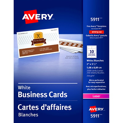 "Avery Micro-Perforated Business Cards for Laser Printers, Matte White, 2"" x 3 1/2"", 2,500/PK MICROPERFORATED LASER PRINTER 80LBS MATTE WHITE"