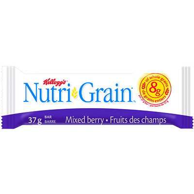Kellogg's Nutri-Grain Cereal Bars, Mixed Berry, 37 g, 16/BX