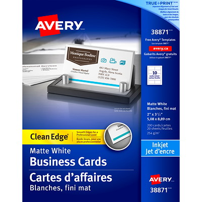 """Avery 2-Sided Printable Clean Edge Business Cards for Inkjet Printers, White, 2"""" x 3 1/2"""", 200/PK HIGH QUALITY 200 CARDS/PK WHT COATD FOR SHARP TEXT&BRILL COL"""