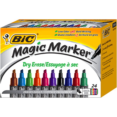 Bic Magic Marker Dry-Erase Markers LIQUID INK TANK STYLE 24/BOX