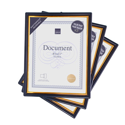 "Kiera Grace Accent 8 1/2"" x 11"" Document Frame  VALUE PACK   8.5X11"" GOLD TRIM AND PLEXI SHEET"