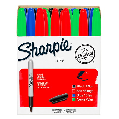 Sharpie Permanent Markers, Assorted Colours, Fine Tip, 36/PK FINE TIP