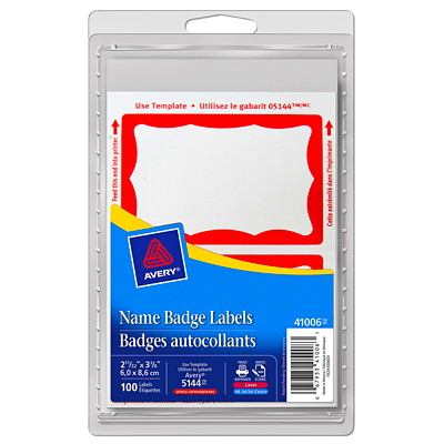 """Avery Removable Print/Write Self-Adhesive Name Badge Labels, White with Red Border, 2 11/12"""" x 3 3/8"""", 2 Labels/Sheet, 50 Sheets/PK 2-11/32 X 3-3/8 INCH AVERY 100/PK LASER OR INKJET"""