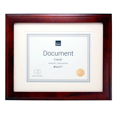 "Kiera Grace Oxford 11"" x 14"" Wooden Document Frame  MATTED TO 8.5X11"" ESPRESSO"