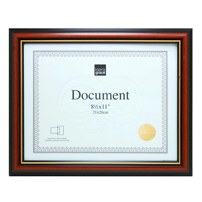 "Kiera Grace Kylie 8 1/2"" x 11"" Document Frame  BROWN WITH GOLD TRIM"