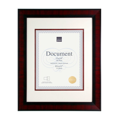 "Kiera Grace Hailey 11"" x 14"" Document Frame  MATTED FOR 8.5X11"" DARK BROWN"