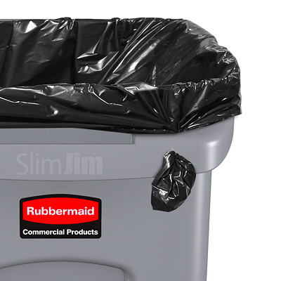 Rubbermaid Slim Jim Vented Container, Black, 23-Gallon Capacity 23G WITH VENTING CHANNELS