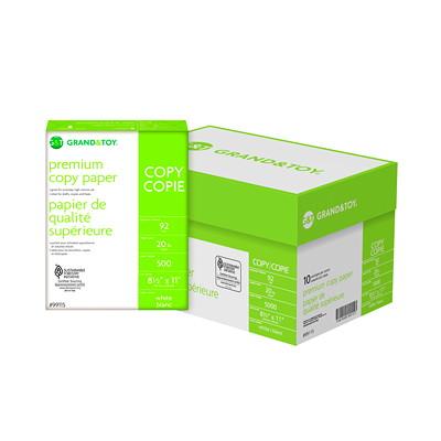 "Grand & Toy Premium Copy Paper, White, Letter-Size (8 1/2"" x 11""), SFI Certified, 20 lb., Ream  20LB STOCK ACID FREE LASER COMPATIBLE ANTI STATIC 500/PK"
